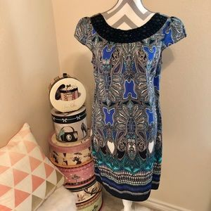 Multicolor Blue Beaded Neck Dress